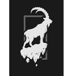Silhouette of a mountain goat standing on a rock vector image