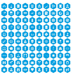 100 adult games icons set blue vector