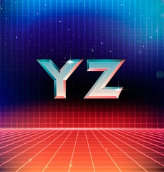 80s retro futuristic font from y to z vector