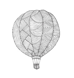 Air balloon Coloring book page for adult vector