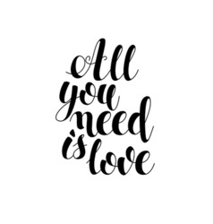 all you need is love postcard phrase vector image