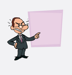 Angry white businessman with glasses is showing vector