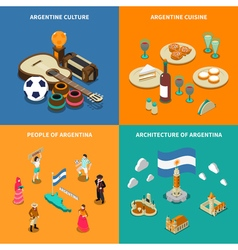 Argentina 4 Touristic Isometric Icons Square vector