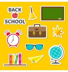 back to school icon set green board bell alarm vector image
