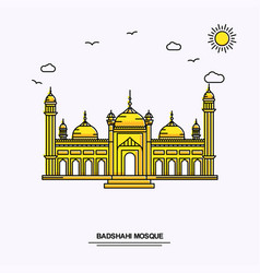 Badshahi mosque monument poster template world vector