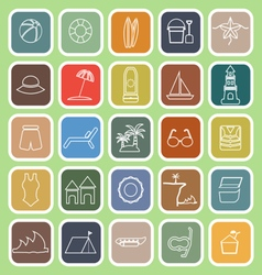 Beach line flat icons on green background vector