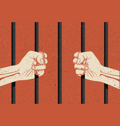 Behind bars two hands arms holding bars vector