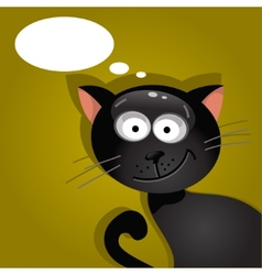 Black cat with a cloud of thoughts vector image