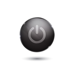 Black glossy power button vector