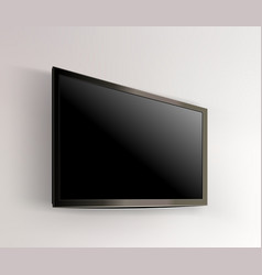 Black led tv television screen blank on wall vector