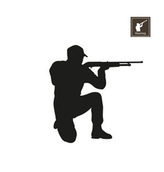 Black silhouette of hunter on white background vector