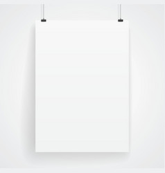 Blank paper poster on white wall vector