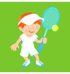 Boy with badminton racquet vector
