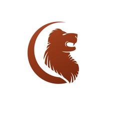 brave lion ancient emblem animal element heraldic vector image