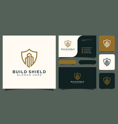 Building and shield line style logo and business vector
