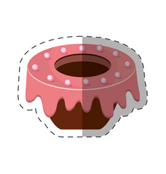Cake dessert pink glaze shadow vector