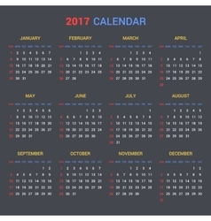 Calendar Template for 2017 on Dark Background vector image