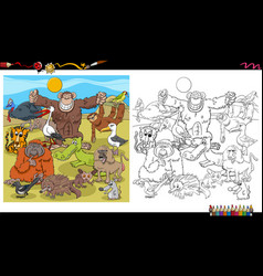 Cartoon animal characters group coloring book page vector