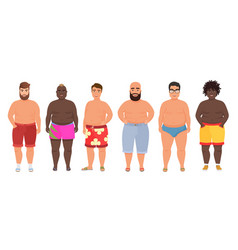 Cartoon funny fat man in underwear bathing vector