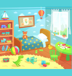 Cartoon kids bedroom interior home childrens room vector