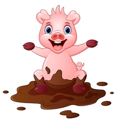 Cartoon pig play in a mud puddle vector
