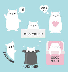 cat kitten sticker emotion emoji icon set miss vector image