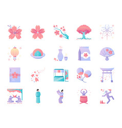 cherry blossom festival icon set vector image