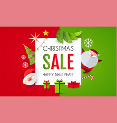 christmas sale season design template paper art vector image