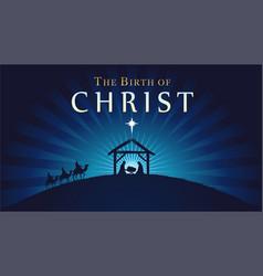 christmas scene bajesus in manger vector image