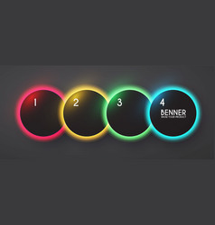 circle neon shining banner set rainbow light vector image
