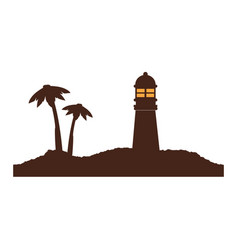 Color silhouette island with lighthouse and vector