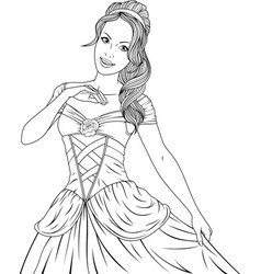 Coloring the beautiful princess vector