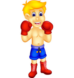 Cool boxer cartoon standing with smile vector