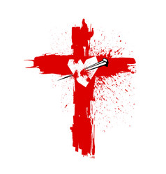 Cross of jesus christ pierced the heart vector