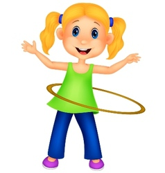 Cute girl cartoon twirling hula hoop vector