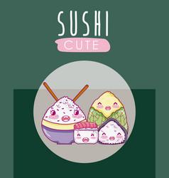 cute japanese food kawaii cartoon vector image