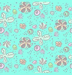 cute tender blue doodle floral pattern vector image