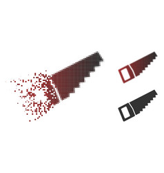 damaged dotted halftone wood saw icon vector image