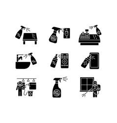 Decontamination black glyph icons set on white vector