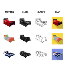 different beds cartoonblackoutlineflat icons in vector image