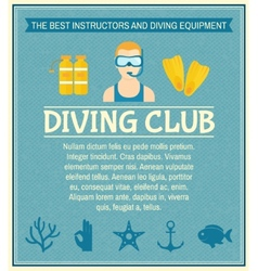 Diving club poster vector