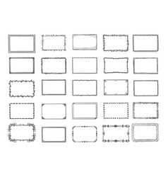 doodle frames sketched hand drawn square shapes vector image