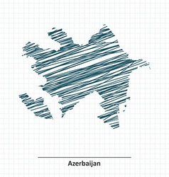 Doodle sketch of Azerbaijan map vector