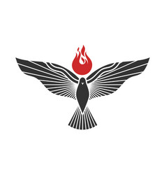 Dove and flame are symbols holy spi vector