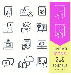 E-learning education icons set of graduation cap vector