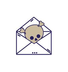 e-mail letter message with danger skull virus vector image