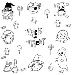 Face Halloween Element doodle vector