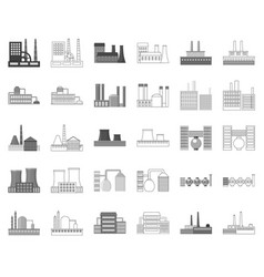 Factory and facilities monochromeoutline icons in vector