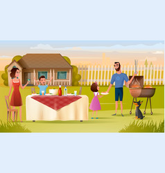 Family grill party on backyard concept vector