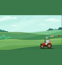 Farm landscape with green vector